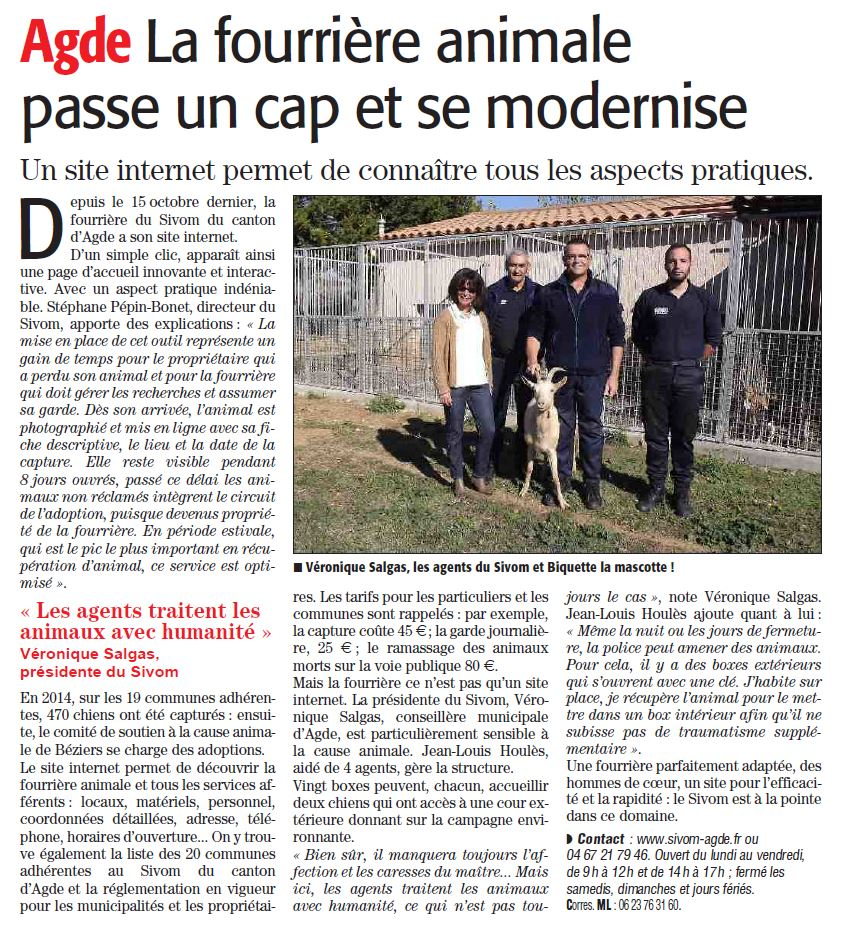 Article Midi Libre fourriere 27 octobre 2015